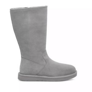 UGG   Alber Seal Grey Suede Tall Zip Boots Size 11
